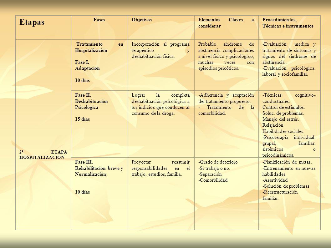 Etapas FasesObjetivosElementos Claves a considerar Procedimientos, Técnicas e instrumentos 2º ETAPA HOSPITALIZACIÓN Tratamiento en Hospitalización Fas