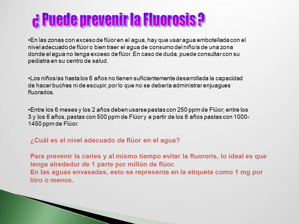 La Organización Mundial de la Salud (OMS), estableció como límite una concentración de flúor de 1 ppm, pero en aguas que no son de red y no pasan por un proceso de purificación previo, estos valores se sobrepasan La concentración de flúor en el agua de Lima y provincias es de 0.6 a 1.3 ppm En los seres vivos :Ión Floruro Humano:2.5 gr Sangre:0.1 – 0.45 ppm Dosis Diaria Normal Adulto :0.05 – 0.07 mg/Kg Niños:0.01 – 0.013 mg/Kg Intoxicación:10 mg/Kg