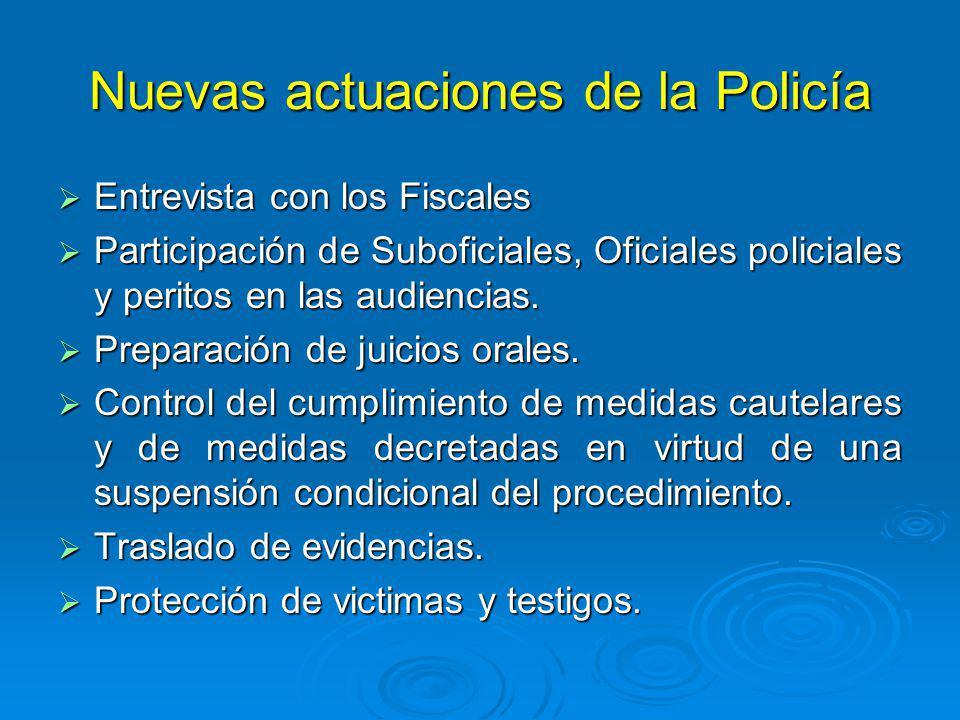 Nuevas actuaciones de la Policía Entrevista con los Fiscales Entrevista con los Fiscales Participación de Suboficiales, Oficiales policiales y peritos en las audiencias.