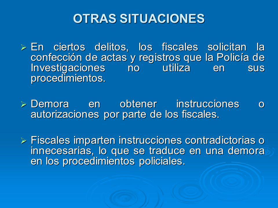 OTRAS SITUACIONES En ciertos delitos, los fiscales solicitan la confección de actas y registros que la Policía de Investigaciones no utiliza en sus procedimientos.