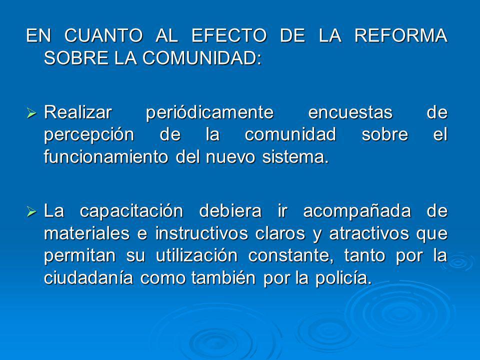 EN CUANTO AL EFECTO DE LA REFORMA SOBRE LA COMUNIDAD: Realizar periódicamente encuestas de percepción de la comunidad sobre el funcionamiento del nuevo sistema.