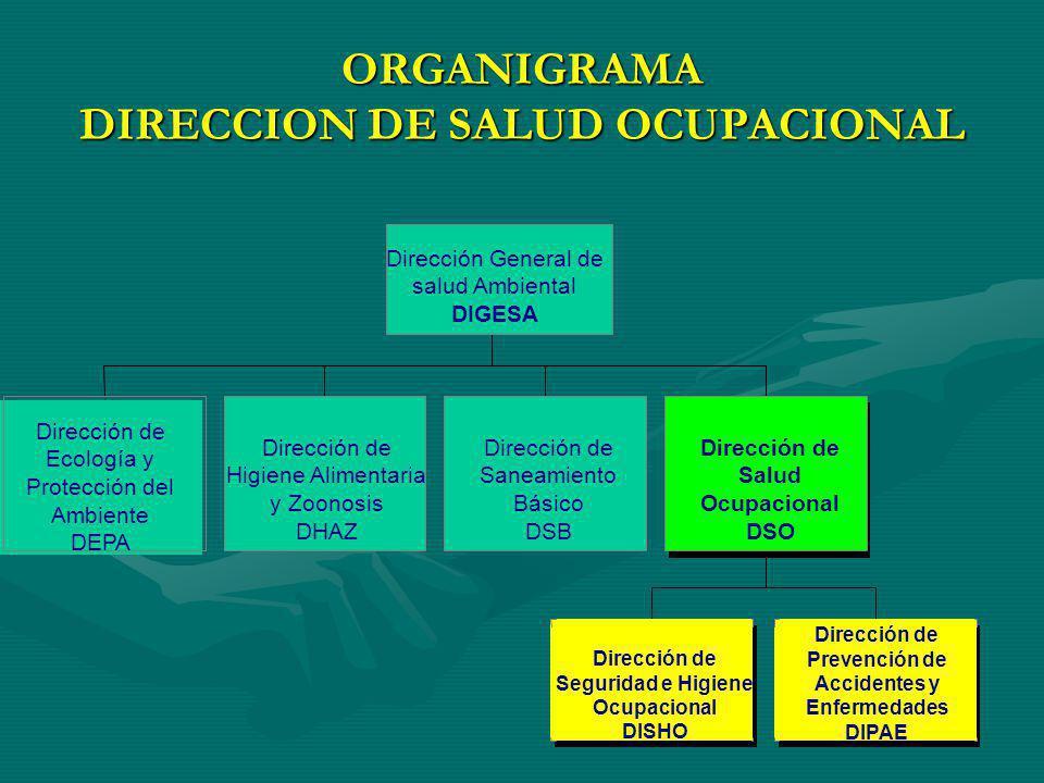 ORGANIGRAMA DIRECCION DE SALUD OCUPACIONAL Dirección de Ecología y Protección del Ambiente DEPA Dirección de Higiene Alimentaria y Zoonosis DHAZ Direc