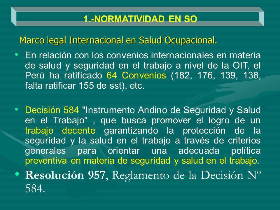 En relación con los convenios internacionales en materia de salud y seguridad en el trabajo a nivel de la OIT, el Perú ha ratificado 64 Convenios (182