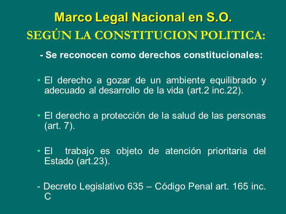 - Se reconocen como derechos constitucionales: El derecho a gozar de un ambiente equilibrado y adecuado al desarrollo de la vida (art.2 inc.22). El de