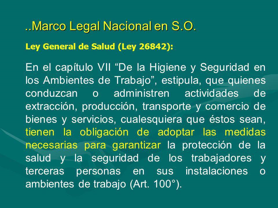 Ley General de Salud (Ley 26842): En el capítulo VII De la Higiene y Seguridad en los Ambientes de Trabajo, estipula, que quienes conduzcan o administ