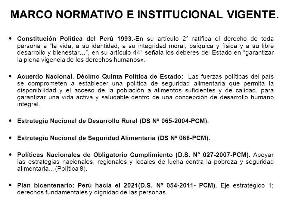 MARCO NORMATIVO E INSTITUCIONAL VIGENTE. Constitución Política del Perú 1993.-En su artículo 2° ratifica el derecho de toda persona a la vida, a su id