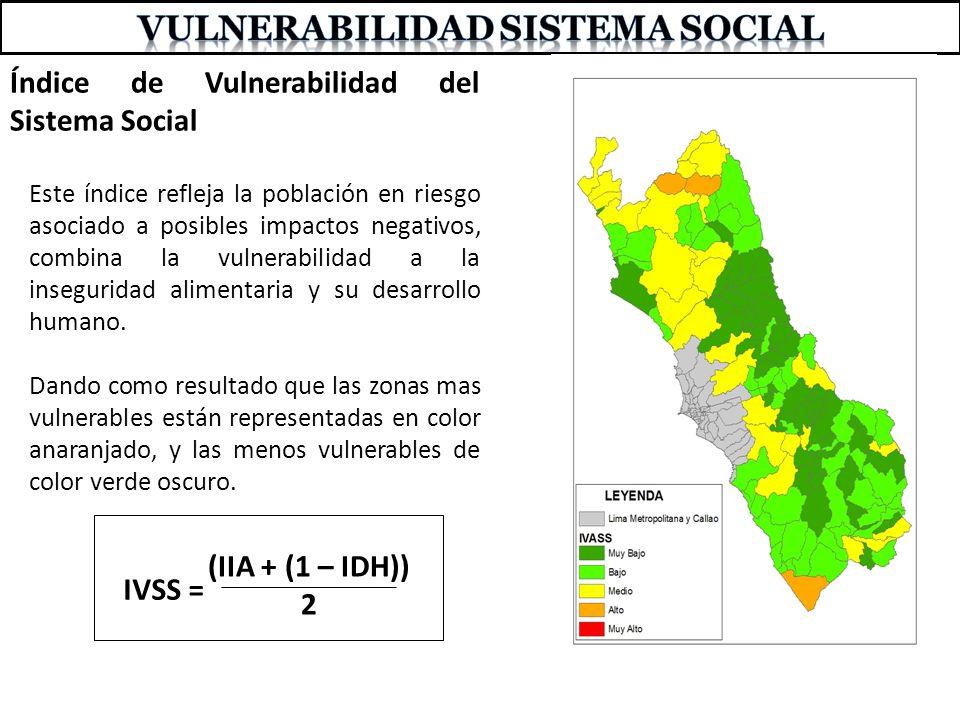 Índice de Vulnerabilidad del Sistema Social Este índice refleja la población en riesgo asociado a posibles impactos negativos, combina la vulnerabilid