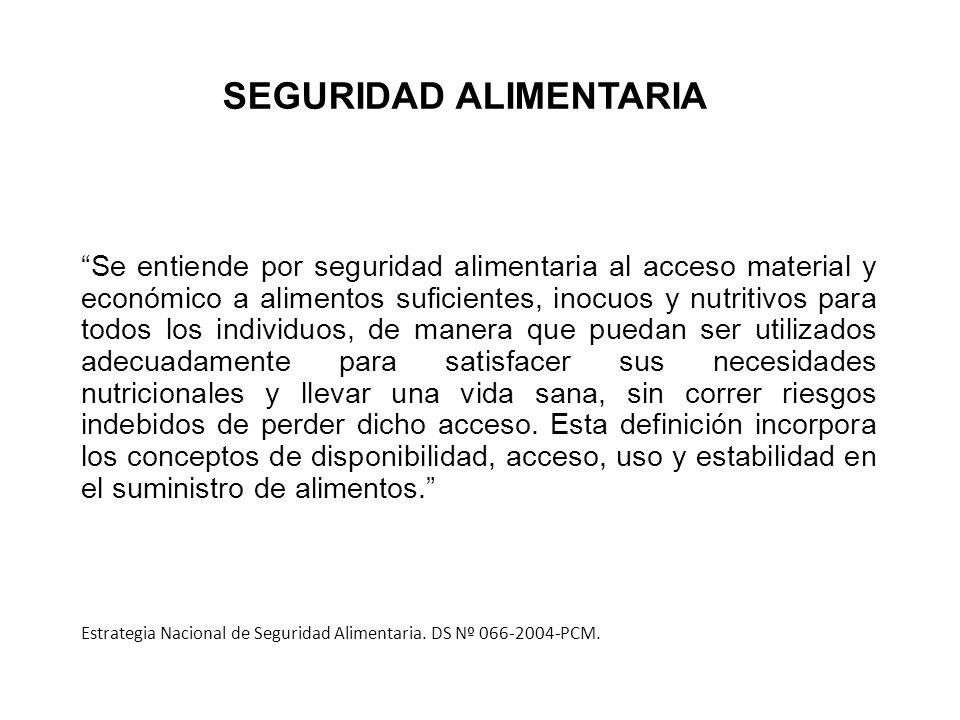 Seguridad Alimentaria Acceso a los alimentosUso adecuado de los alimentosDisponibilidad de los alimentos Estabilidad en el suministro de alimentos Marco institucional COMPONENTES DE LA SEGURIDAD ALIMENTARIA.