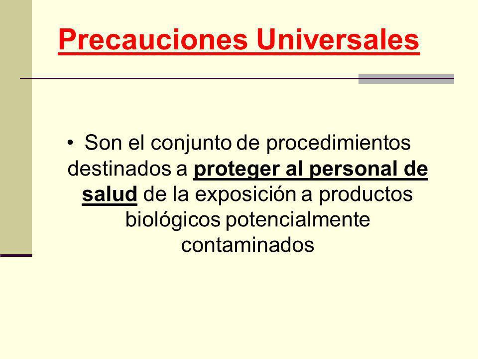 Precauciones Universales Son el conjunto de procedimientos destinados a proteger al personal de salud de la exposición a productos biológicos potencia