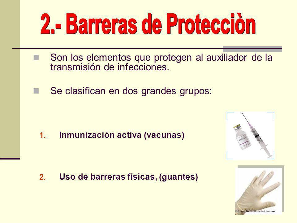Son los elementos que protegen al auxiliador de la transmisión de infecciones. Se clasifican en dos grandes grupos: 1. Inmunización activa (vacunas) 2