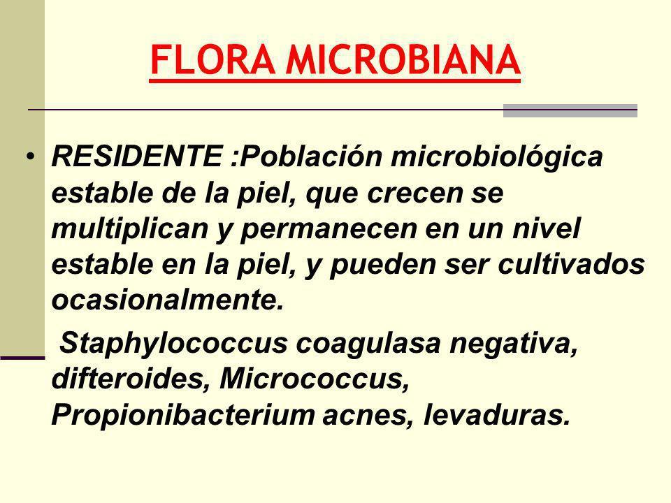 FLORA MICROBIANA RESIDENTE :Población microbiológica estable de la piel, que crecen se multiplican y permanecen en un nivel estable en la piel, y pued