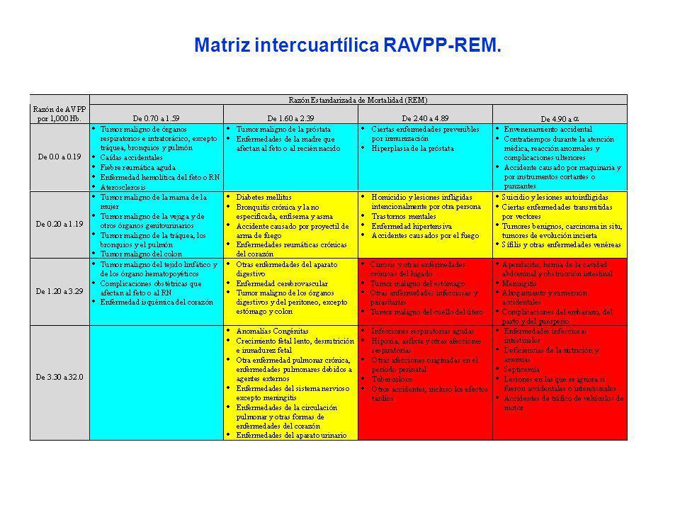 Matriz intercuartílica RAVPP-REM.