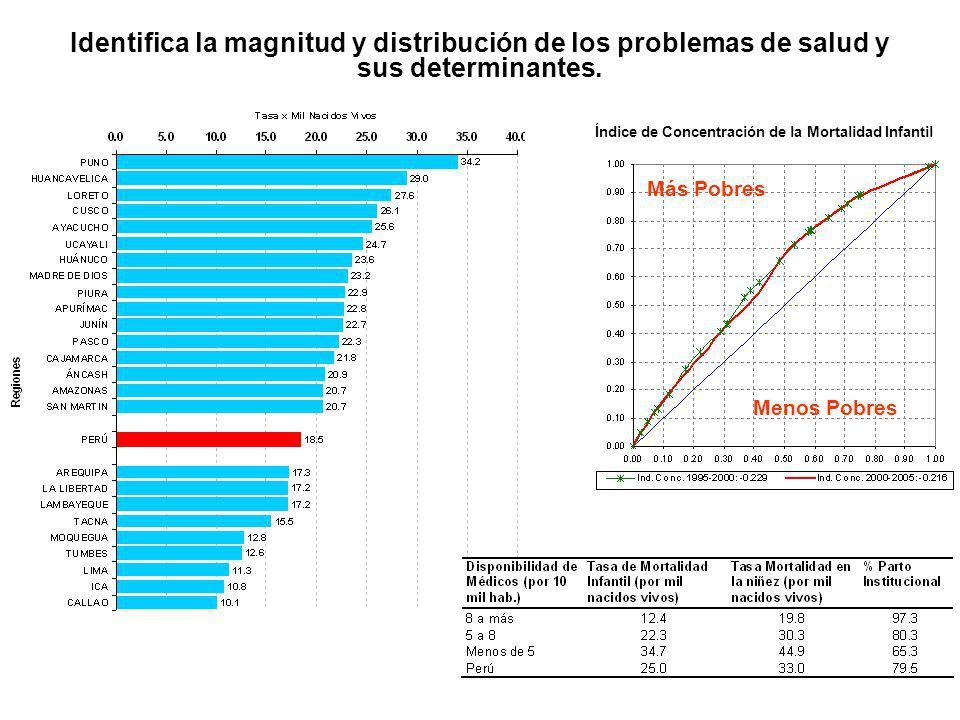 Identifica la magnitud y distribución de los problemas de salud y sus determinantes. Índice de Concentración de la Mortalidad Infantil Más Pobres Meno