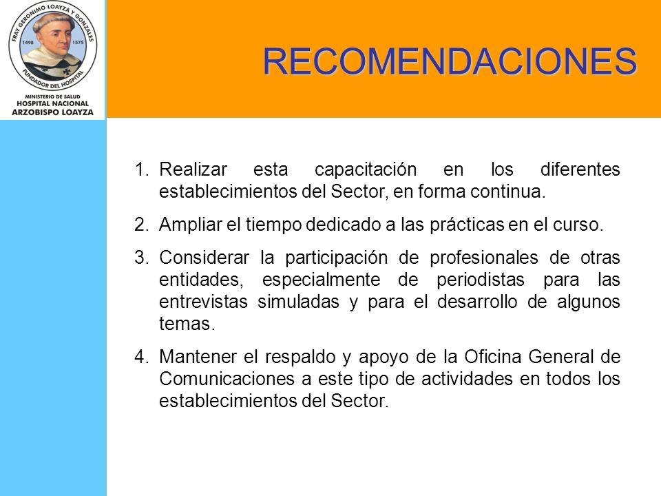 RECOMENDACIONES 1.Realizar esta capacitación en los diferentes establecimientos del Sector, en forma continua. 2.Ampliar el tiempo dedicado a las prác