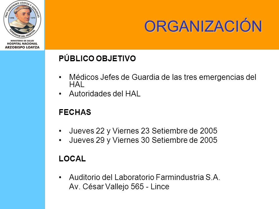 ORGANIZACIÓN PÚBLICO OBJETIVO Médicos Jefes de Guardia de las tres emergencias del HAL Autoridades del HAL FECHAS Jueves 22 y Viernes 23 Setiembre de