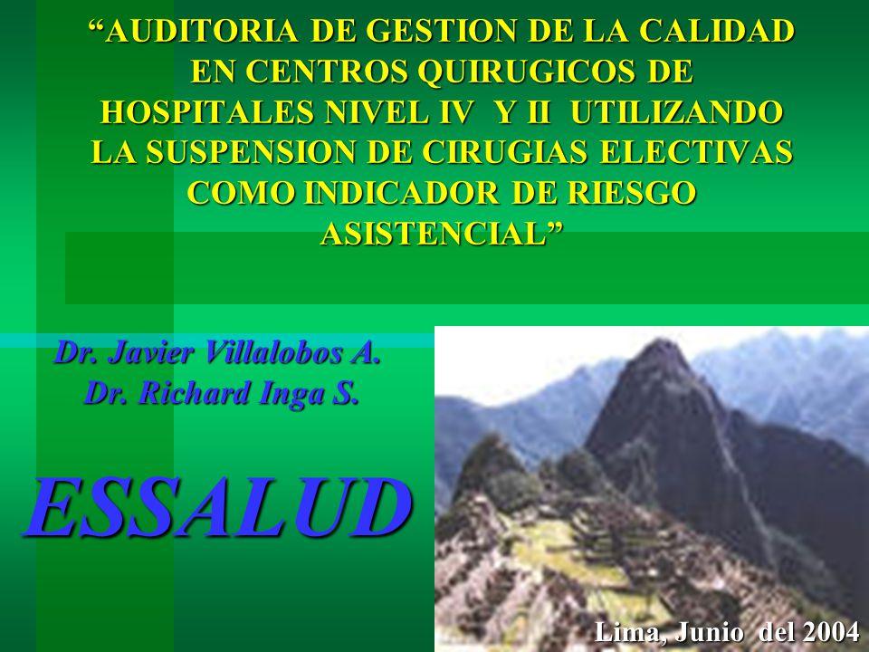 AUDITORIA DE GESTION DE LA CALIDAD EN CENTROS QUIRUGICOS DE HOSPITALES NIVEL IV Y II UTILIZANDO LA SUSPENSION DE CIRUGIAS ELECTIVAS COMO INDICADOR DE RIESGO ASISTENCIAL Dr.