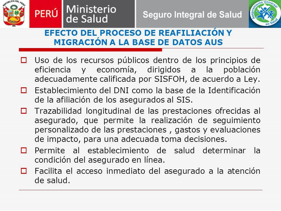 EFECTO DEL PROCESO DE REAFILIACIÓN Y MIGRACIÓN A LA BASE DE DATOS AUS Uso de los recursos públicos dentro de los principios de eficiencia y economía,