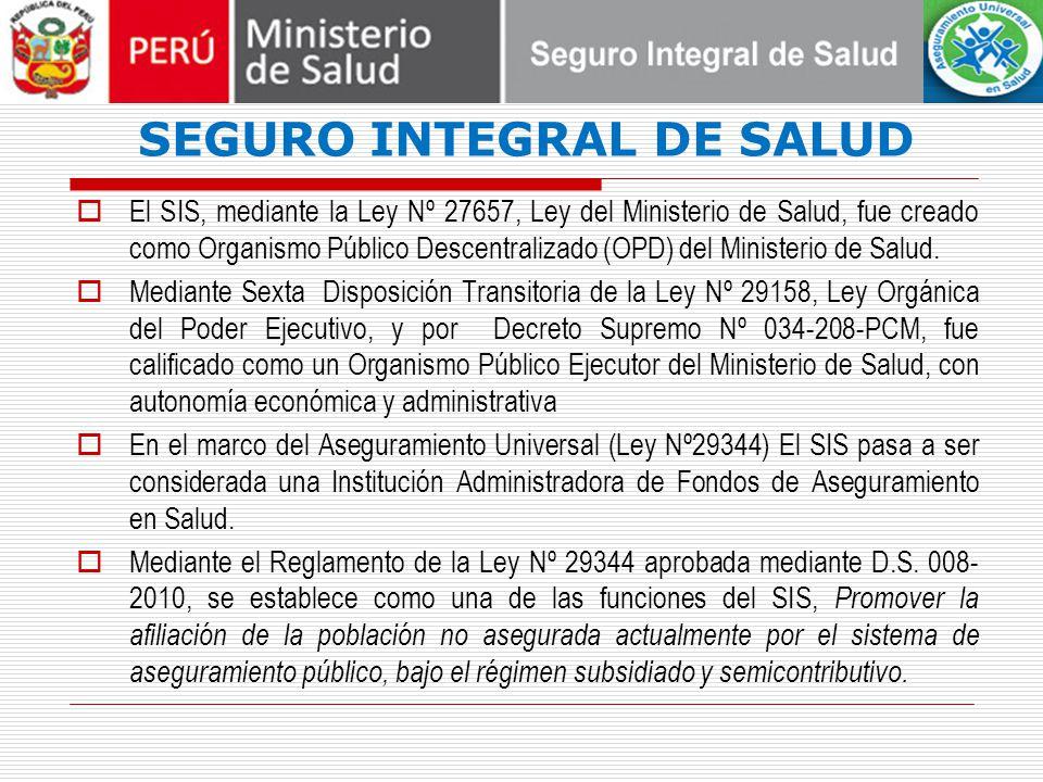 SEGURO INTEGRAL DE SALUD El SIS, mediante la Ley Nº 27657, Ley del Ministerio de Salud, fue creado como Organismo Público Descentralizado (OPD) del Ministerio de Salud.
