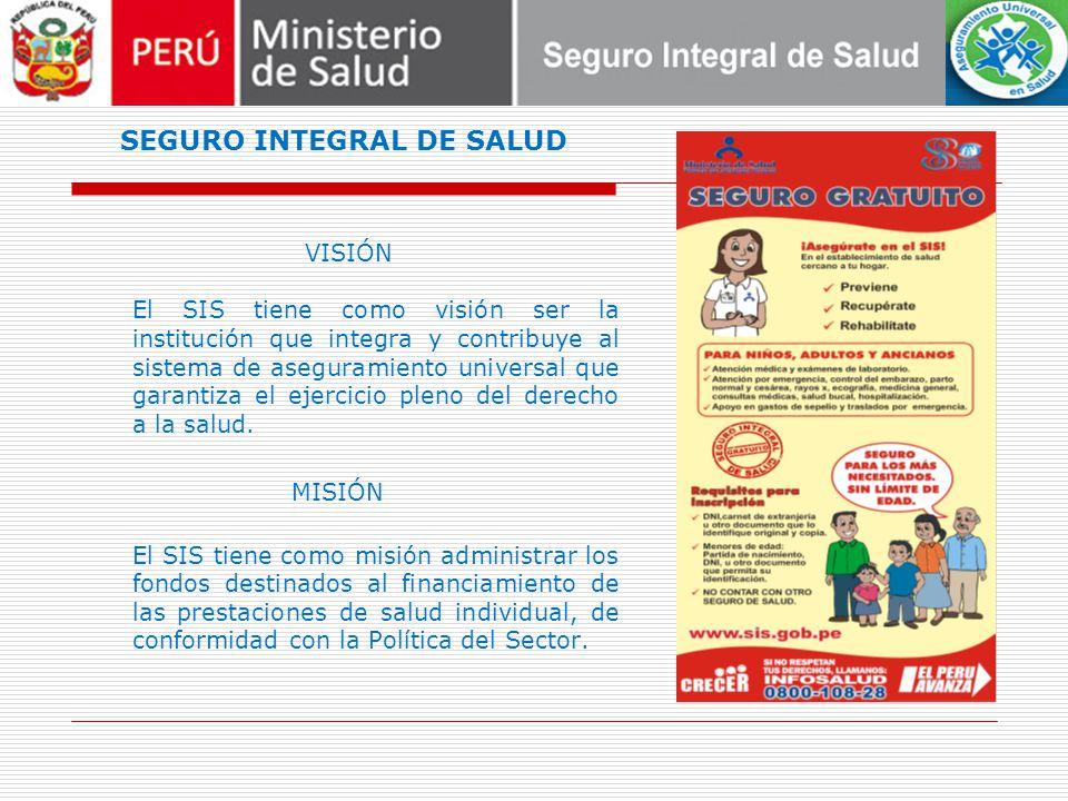 SEGURO INTEGRAL DE SALUD VISIÓN El SIS tiene como visión ser la institución que integra y contribuye al sistema de aseguramiento universal que garantiza el ejercicio pleno del derecho a la salud.