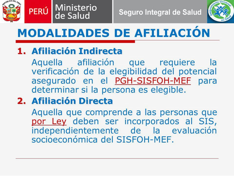 MODALIDADES DE AFILIACIÓN 1.Afiliación Indirecta Aquella afiliación que requiere la verificación de la elegibilidad del potencial asegurado en el PGH-SISFOH-MEF para determinar si la persona es elegible.