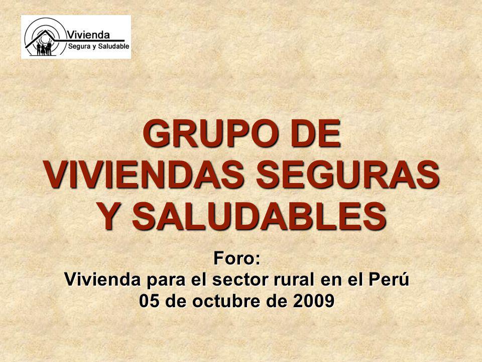 Foro: Vivienda para el sector rural en el Perú 05 de octubre de 2009 GRUPO DE VIVIENDAS SEGURAS Y SALUDABLES