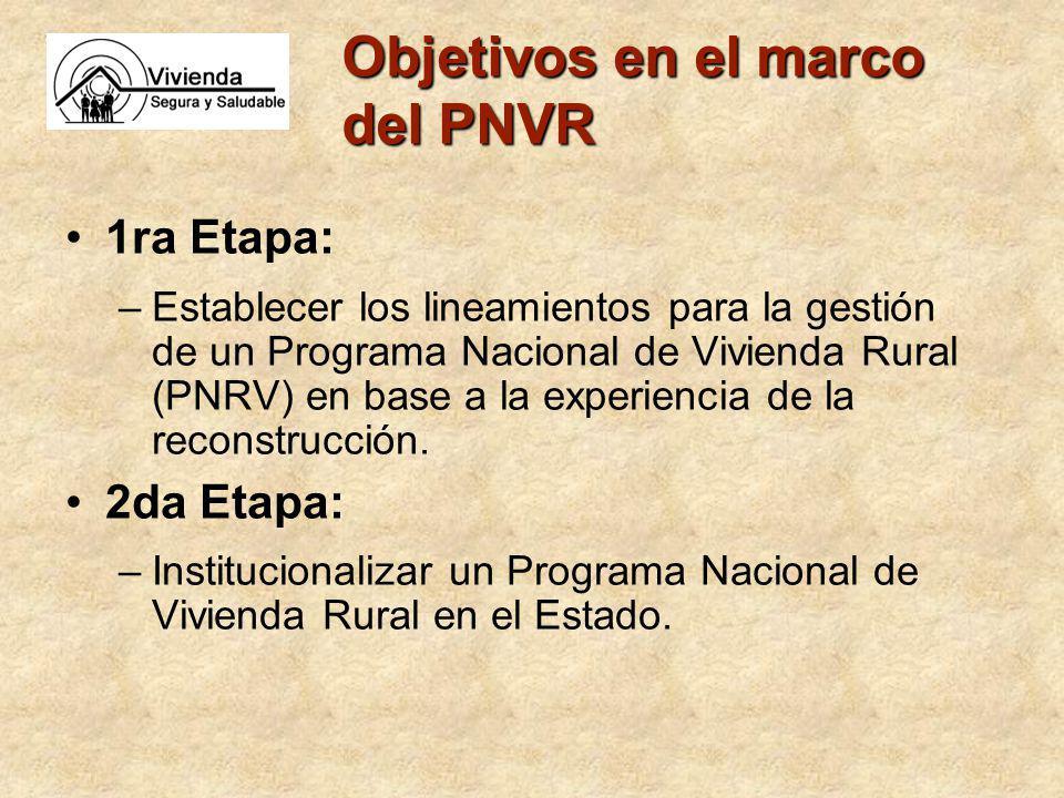 Objetivos en el marco del PNVR 1ra Etapa: –Establecer los lineamientos para la gestión de un Programa Nacional de Vivienda Rural (PNRV) en base a la experiencia de la reconstrucción.