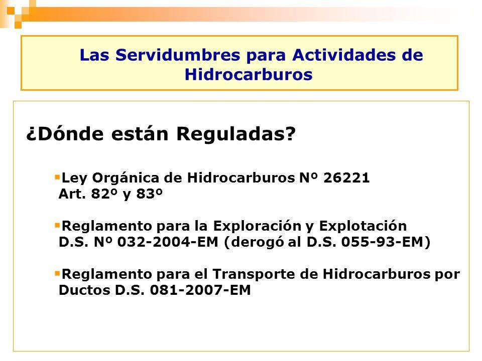Las Servidumbres para Actividades de Hidrocarburos ¿Dónde están Reguladas? Ley Orgánica de Hidrocarburos Nº 26221 Art. 82º y 83º Reglamento para la Ex