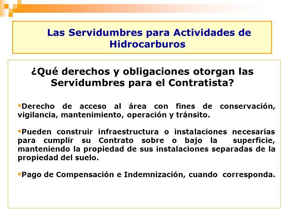 Las Servidumbres para Actividades de Hidrocarburos ¿Qué derechos y obligaciones otorgan las Servidumbres para el Contratista? Derecho de acceso al áre