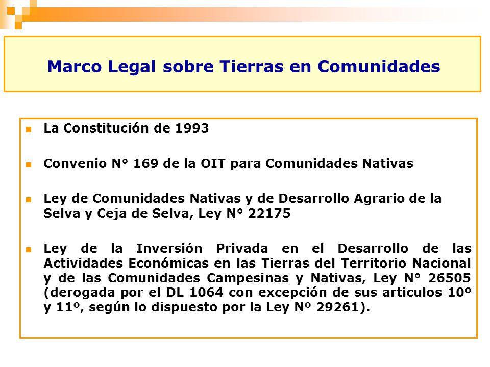 Marco Legal sobre Tierras en Comunidades La Constitución de 1993 Convenio N° 169 de la OIT para Comunidades Nativas Ley de Comunidades Nativas y de De