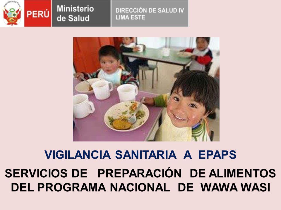 VIGILANCIA SANITARIA A EPAPS SERVICIOS DE PREPARACIÓN DE ALIMENTOS DEL PROGRAMA NACIONAL DE WAWA WASI