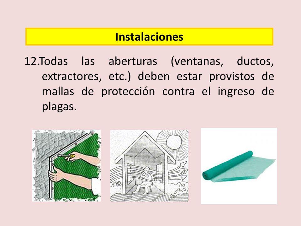 12.Todas las aberturas (ventanas, ductos, extractores, etc.) deben estar provistos de mallas de protección contra el ingreso de plagas. Instalaciones
