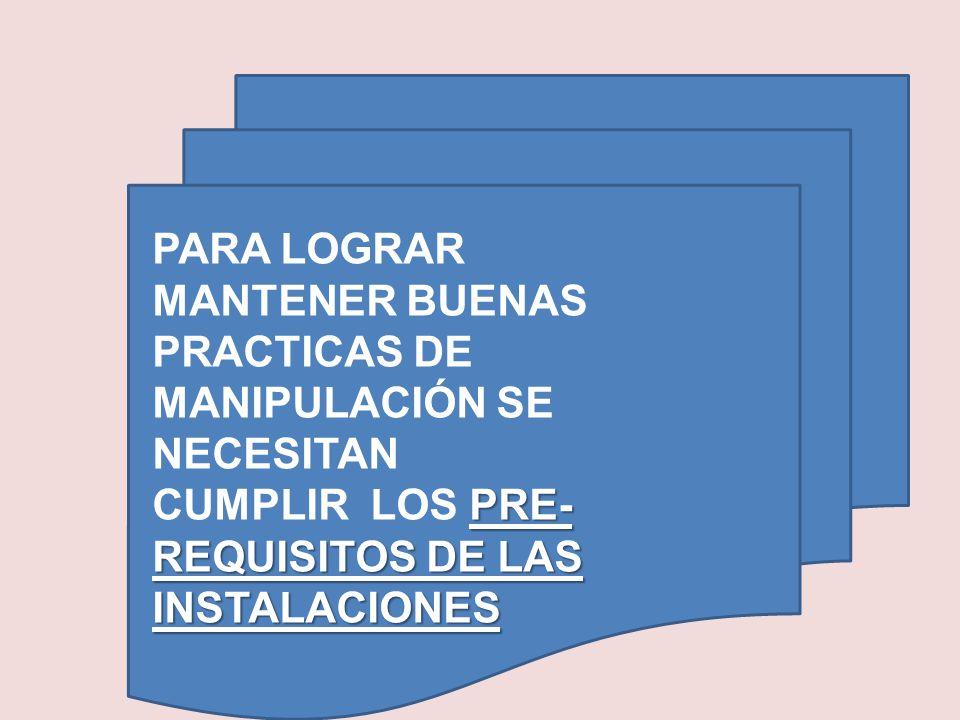 PRE- REQUISITOS DE LAS INSTALACIONES PARA LOGRAR MANTENER BUENAS PRACTICAS DE MANIPULACIÓN SE NECESITAN CUMPLIR LOS PRE- REQUISITOS DE LAS INSTALACION