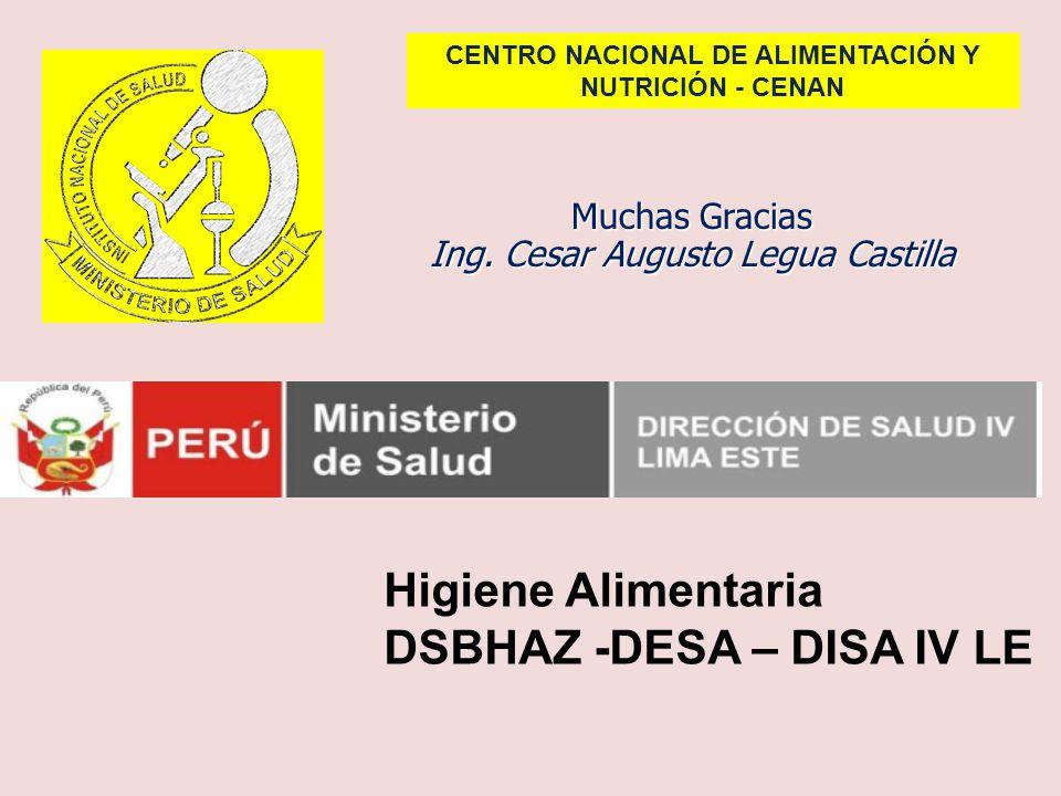 Muchas Gracias Ing. Cesar Augusto Legua Castilla CENTRO NACIONAL DE ALIMENTACIÓN Y NUTRICIÓN - CENAN Higiene Alimentaria DSBHAZ -DESA – DISA IV LE