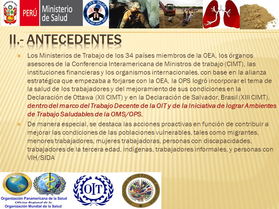 Los Ministerios de Trabajo de los 34 países miembros de la OEA, los órganos asesores de la Conferencia Interamericana de Ministros de trabajo (CIMT),