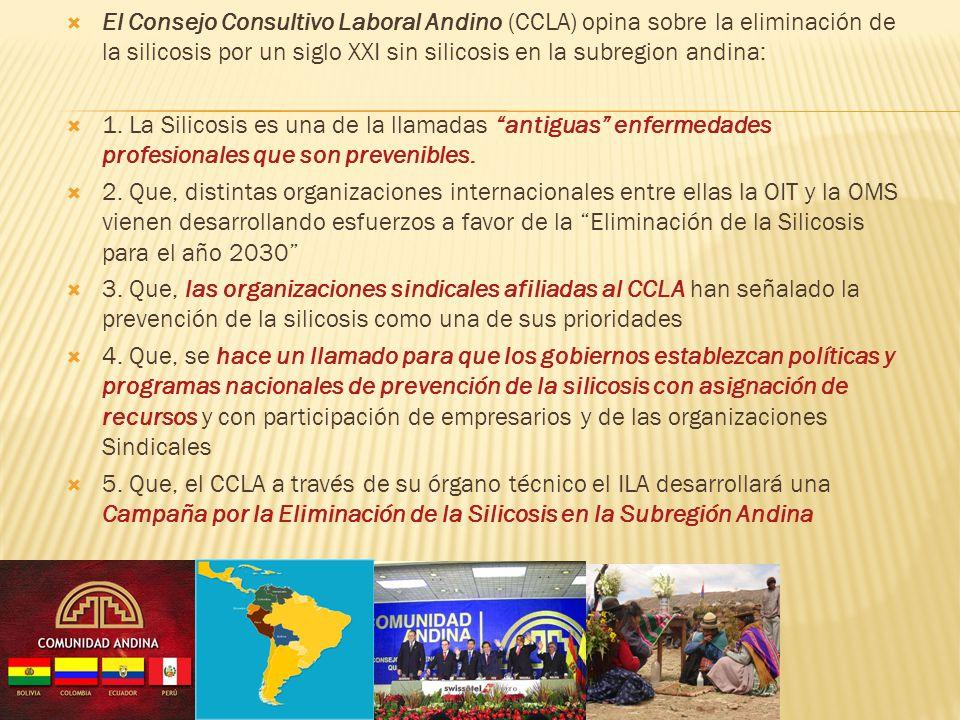 El Consejo Consultivo Laboral Andino (CCLA) opina sobre la eliminación de la silicosis por un siglo XXI sin silicosis en la subregion andina: 1. La Si