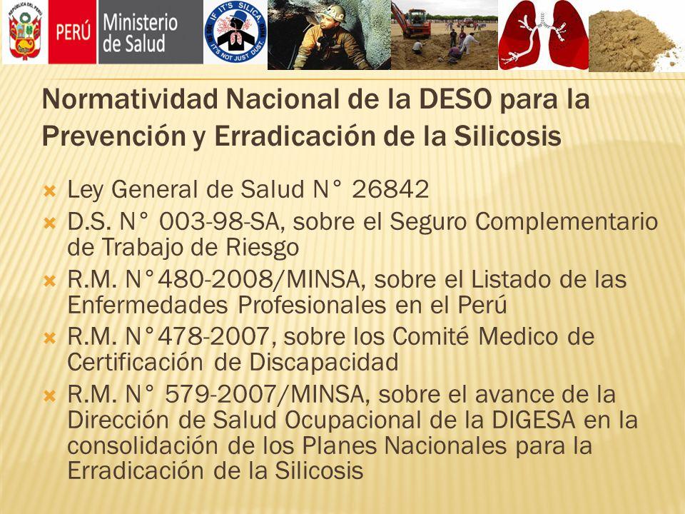 Normatividad Nacional de la DESO para la Prevención y Erradicación de la Silicosis Ley General de Salud N° 26842 D.S. N° 003-98-SA, sobre el Seguro Co