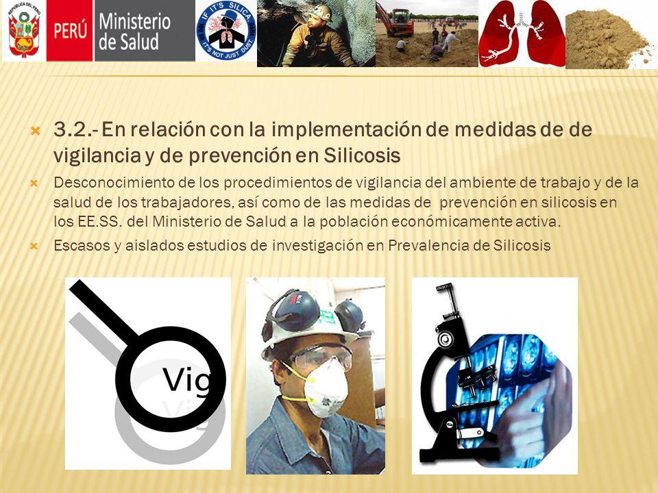 3.2.- En relación con la implementación de medidas de de vigilancia y de prevención en Silicosis Desconocimiento de los procedimientos de vigilancia d