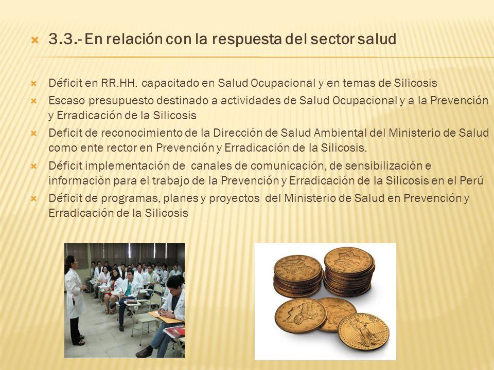3.3.- En relación con la respuesta del sector salud Déficit en RR.HH. capacitado en Salud Ocupacional y en temas de Silicosis Escaso presupuesto desti