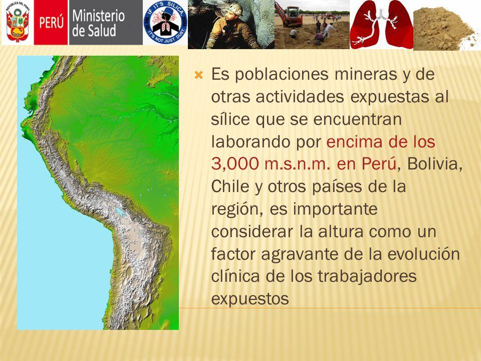 Es poblaciones mineras y de otras actividades expuestas al sílice que se encuentran laborando por encima de los 3,000 m.s.n.m. en Perú, Bolivia, Chile