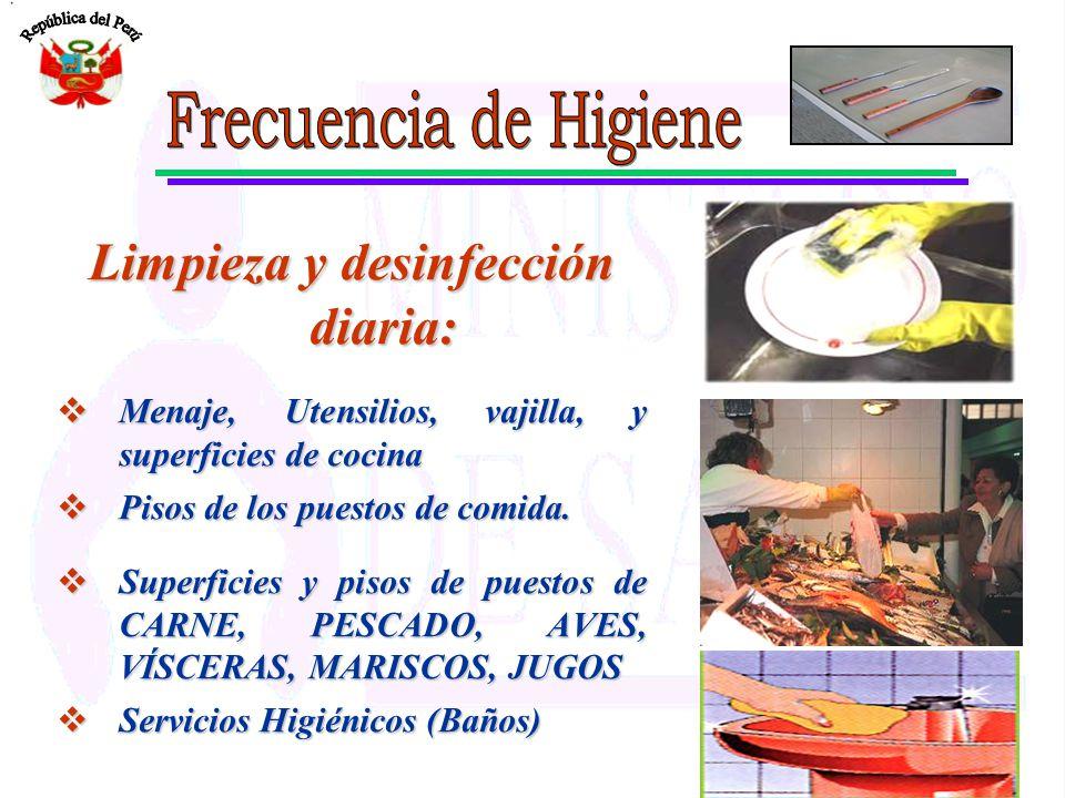Limpieza y desinfección diaria: Menaje, Utensilios, vajilla, y superficies de cocina Menaje, Utensilios, vajilla, y superficies de cocina Pisos de los