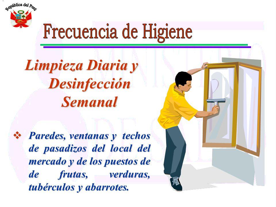 Limpieza Diaria y Desinfección Semanal Paredes, ventanas y techos de pasadizos del local del mercado y de los puestos de de frutas, verduras, tubércul