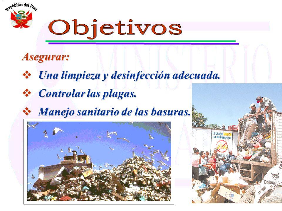 Objetivo: Eliminar residuos de alimentos, tierra ó la suciedad que puedan constituir una fuente de contaminación en superficies, ambientes y equipos.