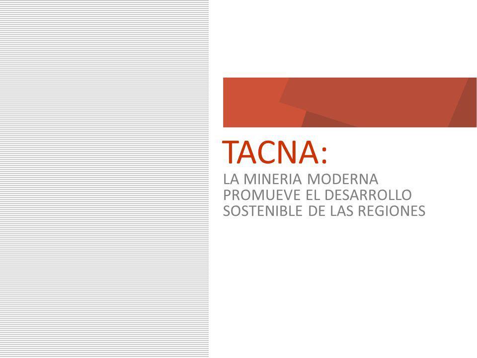 2 Marzo 2010 TACNA: LA MINERIA MODERNA PROMUEVE EL DESARROLLO SOSTENIBLE DE LAS REGIONES