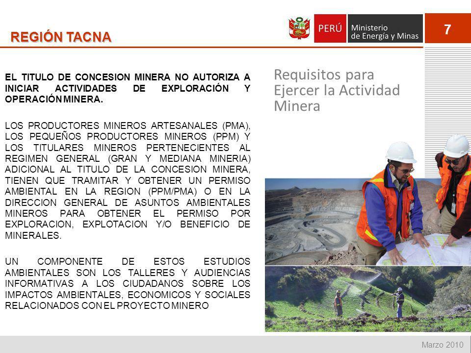 7 Marzo 2010 REGIÓN TACNA EL TITULO DE CONCESION MINERA NO AUTORIZA A INICIAR ACTIVIDADES DE EXPLORACIÓN Y OPERACIÓN MINERA. LOS PRODUCTORES MINEROS A
