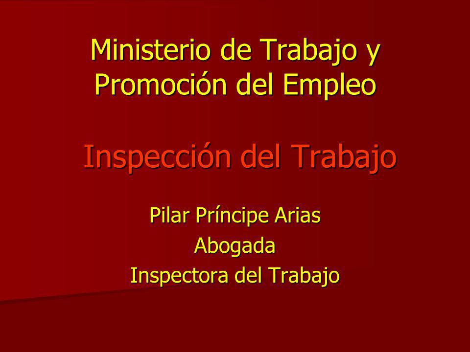 Ministerio de Trabajo y Promoción del Empleo Inspección del Trabajo Pilar Príncipe Arias Abogada Inspectora del Trabajo