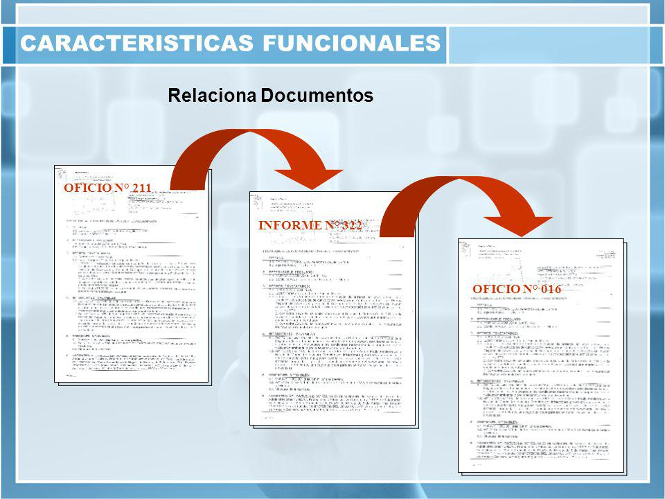 Relaciona Documentos OFICIO N° 211 INFORME N° 322 OFICIO N° 016 CARACTERISTICAS FUNCIONALES