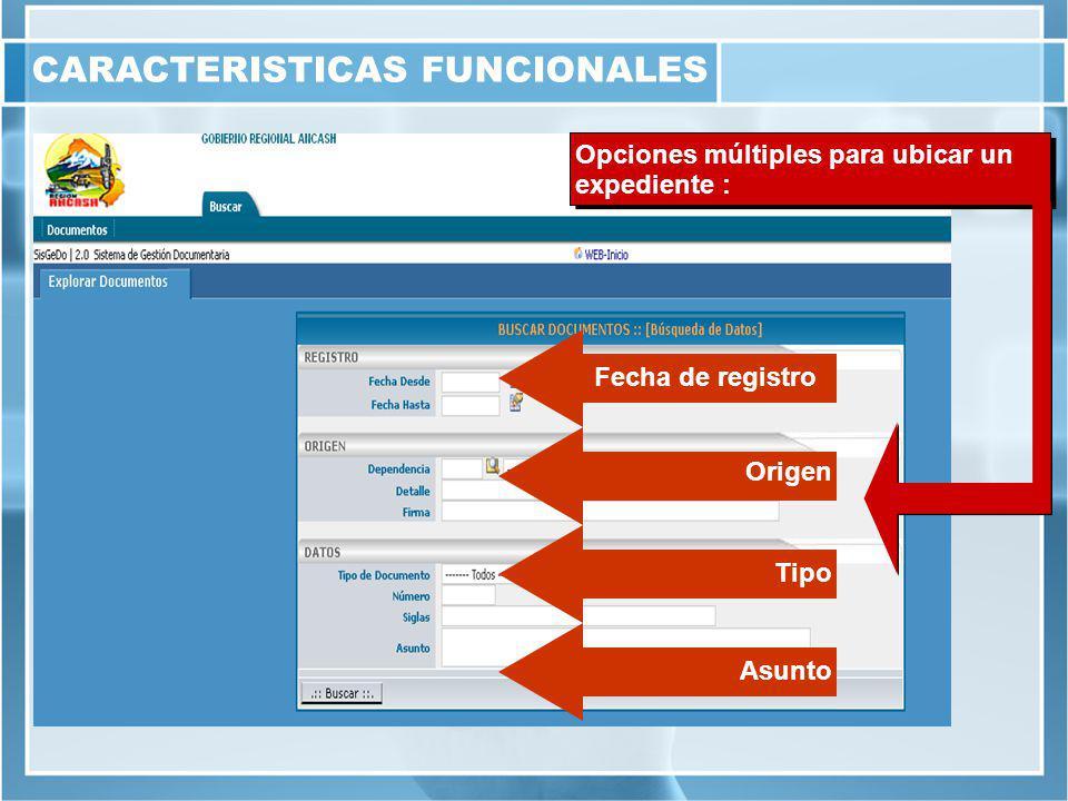 Fecha de registro Origen Tipo Opciones múltiples para ubicar un expediente : Asunto CARACTERISTICAS FUNCIONALES