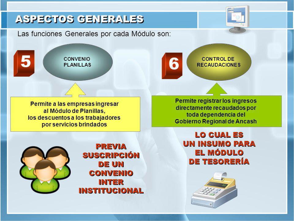 ASPECTOS GENERALES Las funciones Generales por cada Módulo son: CONVENIO PLANILLAS CONTROL DE RECAUDACIONES Permite a las empresas ingresar al Módulo de Planillas, los descuentos a los trabajadores por servicios brindados PREVIA SUSCRIPCIÓN DE UN CONVENIO INTER INSTITUCIONAL PREVIA SUSCRIPCIÓN DE UN CONVENIO INTER INSTITUCIONAL Permite registrar los ingresos directamente recaudados por toda dependencia del Gobierno Regional de Ancash LO CUAL ES UN INSUMO PARA EL MÓDULO DE TESORERÍA LO CUAL ES UN INSUMO PARA EL MÓDULO DE TESORERÍA 5 6