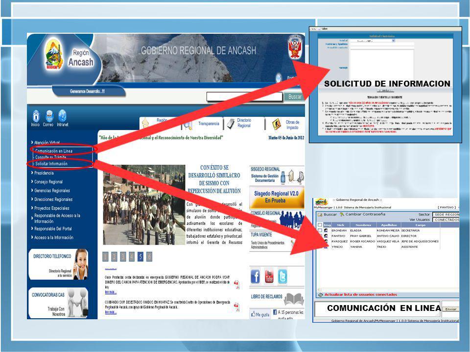 SOLICITUD DE INFORMACION COMUNICACIÓN EN LINEA