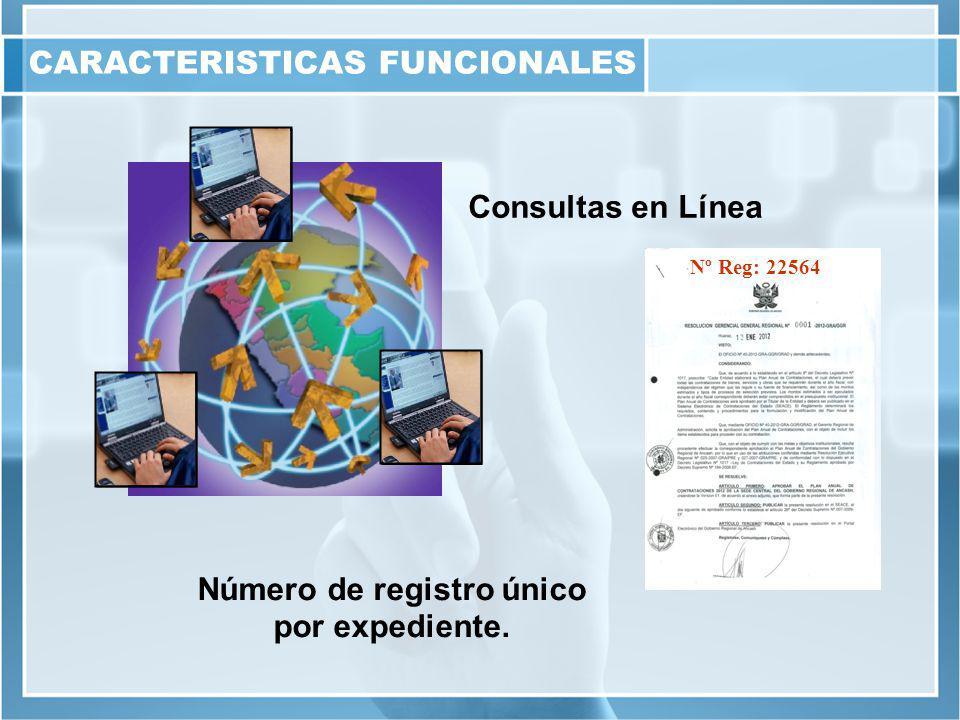 CARACTERISTICAS FUNCIONALES Número de registro único por expediente.